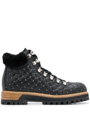 Стеганые шерстяные черные сапоги на шнуровке Le Silla