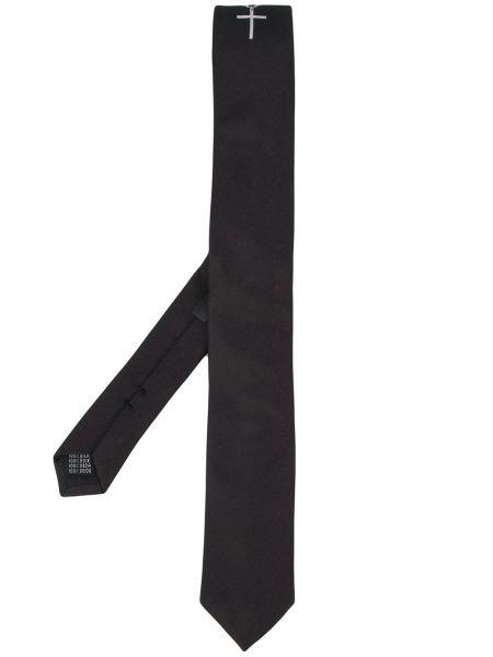 Czarny krawat z jedwabiu z haftem Neil Barrett