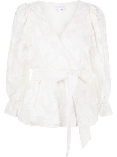 Белая блузка с длинными рукавами из вискозы Tanya Taylor