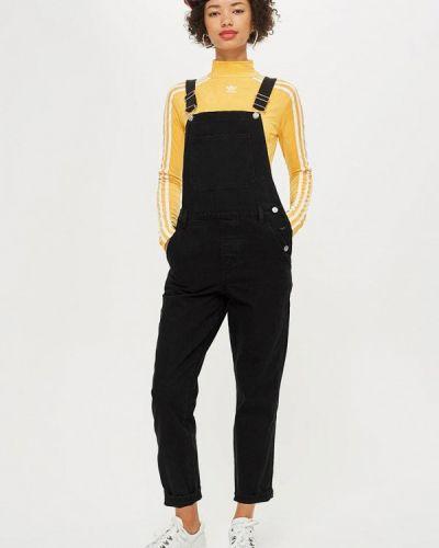 Черный джинсовый комбинезон Topshop