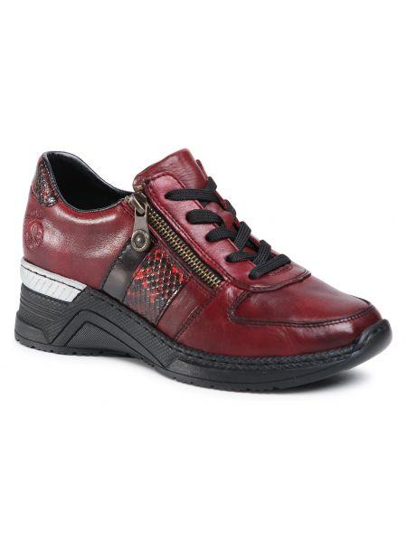 Sneakersy na koturnie skorzane - bordowe Rieker