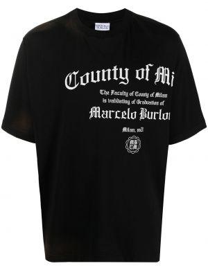 Bawełna bawełna czarny t-shirt Marcelo Burlon County Of Milan