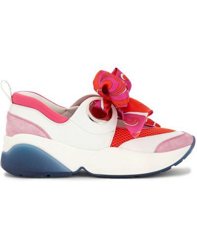 Pomarańczowe sneakersy skorzane z siateczką Emilio Pucci