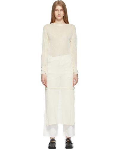 Biała sukienka długa z długimi rękawami Ader Error