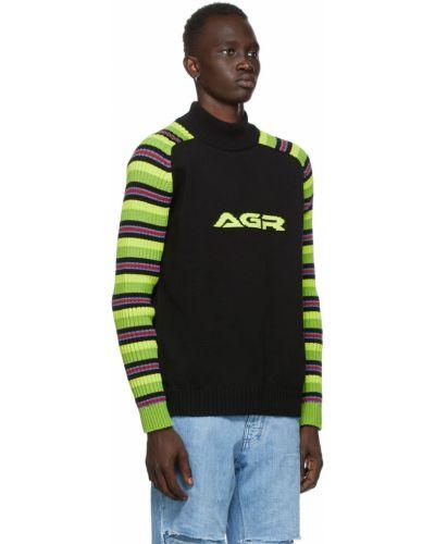 Czarny długi sweter w paski bawełniany Agr