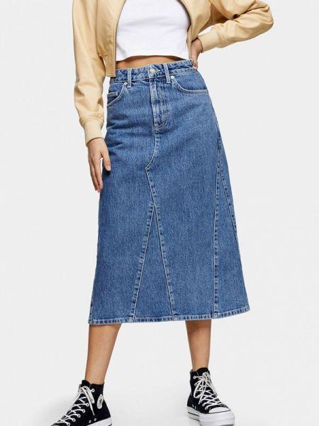 Джинсовая юбка синяя весенняя Topshop