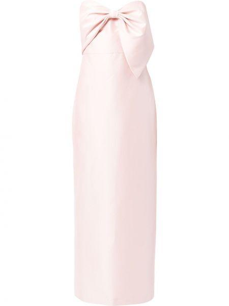 Różowa satynowa sukienka Badgley Mischka