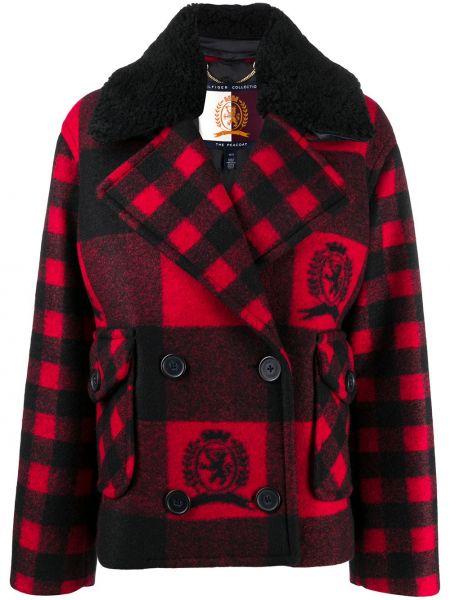 Шерстяное черное длинное пальто двубортное Hilfiger Collection