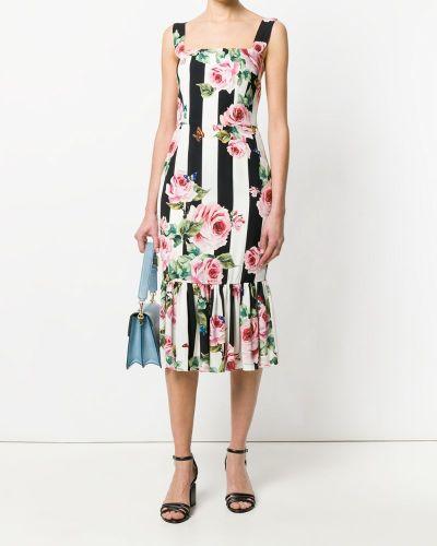 Платье макси с цветочным принтом в полоску с баской Dolce & Gabbana