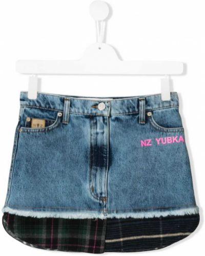 Кожаная синяя классическая джинсовая юбка на пуговицах Natasha Zinko Kids