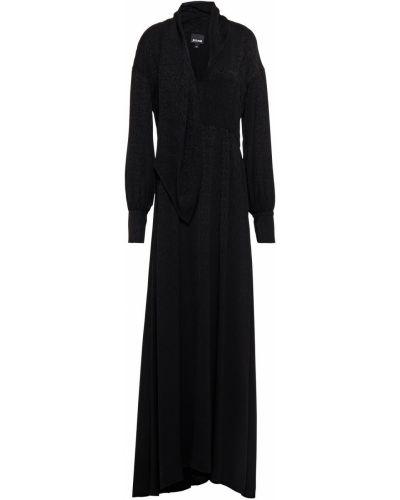 Черное платье макси на пуговицах с драпировкой Just Cavalli