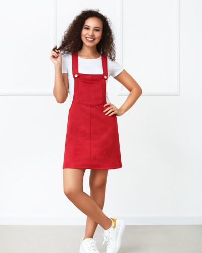 Замшевое сарафан - красное Fashion Girl