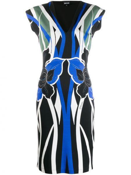 Приталенное синее платье миди без рукавов Just Cavalli