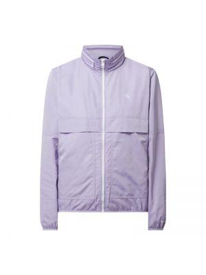Fioletowa wiatrówka z kapturem z printem Calvin Klein Jeans