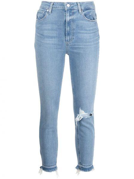 Укороченные зауженные джинсы на молнии с завышенной талией Paige