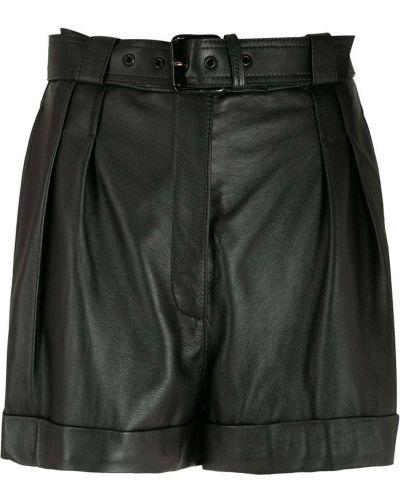 Черные с завышенной талией кожаные шорты Nk