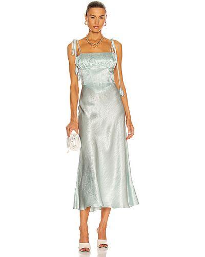 Satynowa sukienka midi turkusowa Marianna Senchina