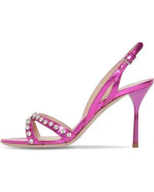 Różowe sandały skorzane klamry Miu Miu