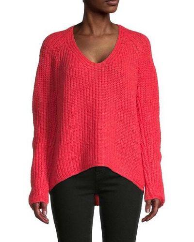 Długi sweter wełniany z raglanowymi rękawami z dekoltem w serek Rag & Bone