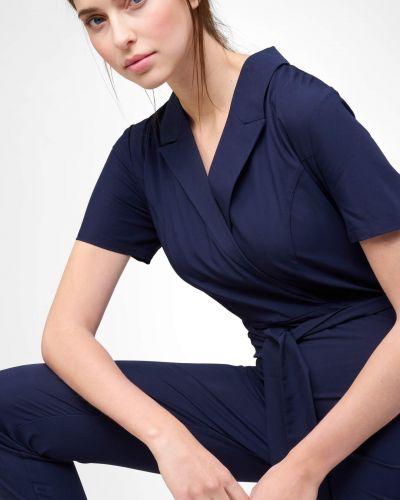 Niebieski kombinezon krótki elegancki kopertowy Orsay