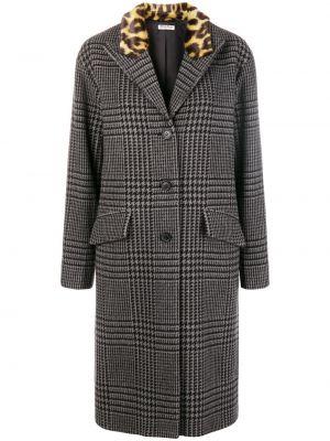 Длинное пальто на кнопках леопардовый Miu Miu