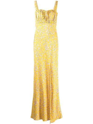 Платье макси в цветочный принт - желтое Nicholas