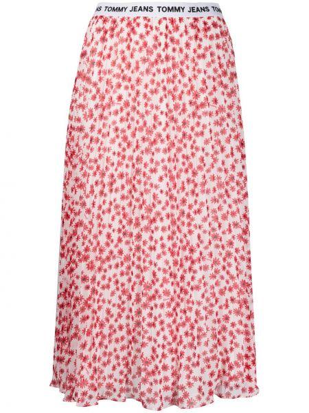 Biały spódnica midi wzór w kwiaty żakard Tommy Jeans