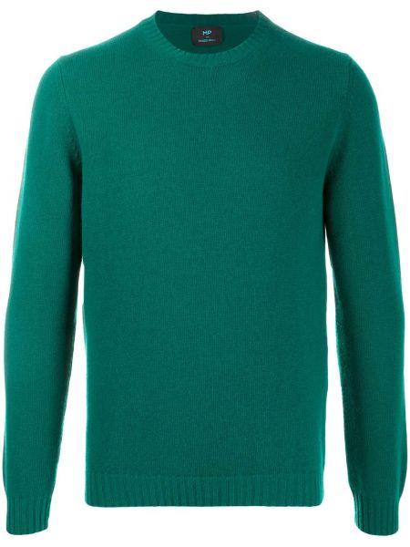 Prążkowany zielony sweter z długimi rękawami Mp Massimo Piombo