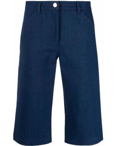 Прямые хлопковые синие шорты Roseanna