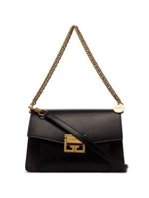 Кожаная золотистая черная кожаная сумка Givenchy