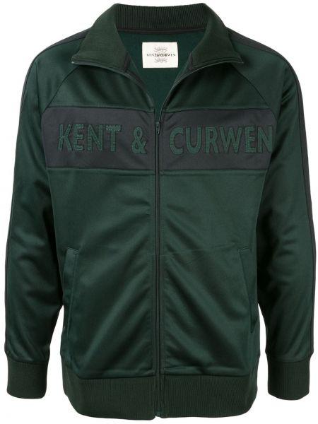 Prążkowana zielona długa kurtka z długimi rękawami Kent & Curwen