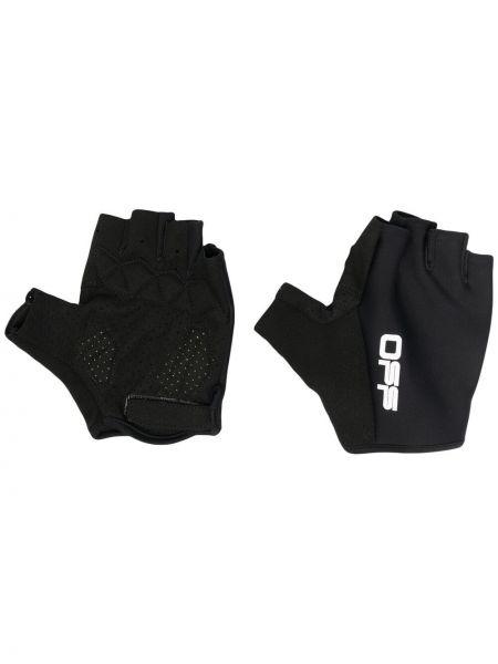 Prążkowane czarne rękawiczki bez palców z printem Off-white