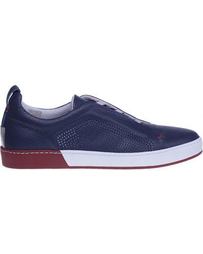 Синие кожаные кроссовки Fabi
