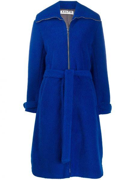 Niebieski płaszcz z paskiem z akrylu Aalto