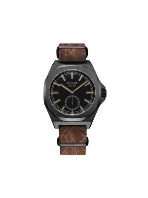 Skórzany czarny zegarek na skórzanym pasku okrągły z klamrą D1 Milano