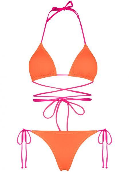 Z paskiem pomarańczowy bikini z falbankami na paskach Reina Olga