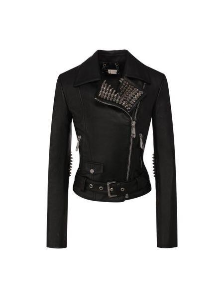 Кожаная куртка с шипами с заплатками Philipp Plein