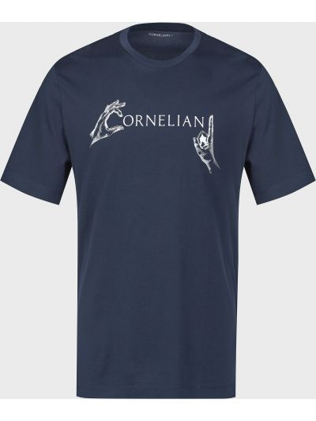 Хлопковая футболка - синяя Corneliani