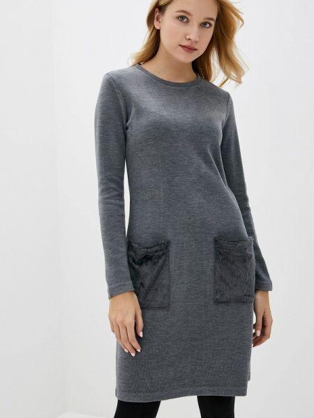 Вязаное серое платье Galvanni