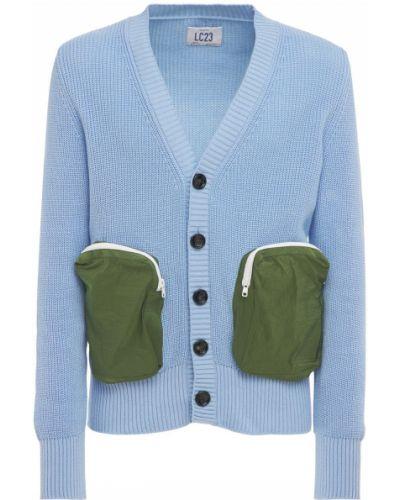 Prążkowany niebieski kardigan bawełniany Lc23