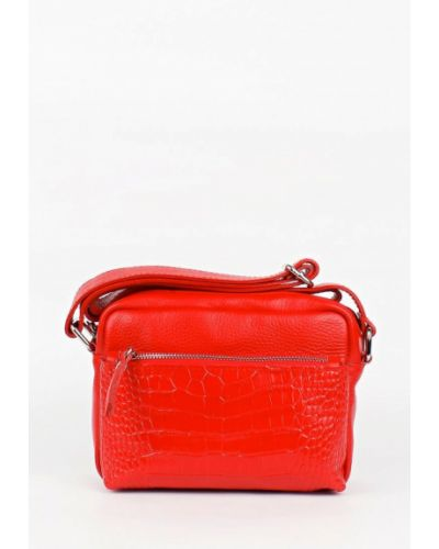 Кожаная сумка через плечо - красная Bella Bertucci