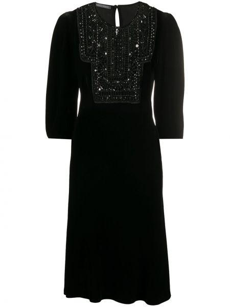Черное платье миди на пуговицах со вставками из вискозы Alberta Ferretti