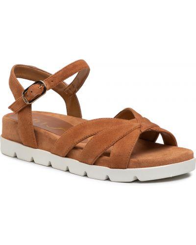 Brązowe sandały zamszowe Unisa