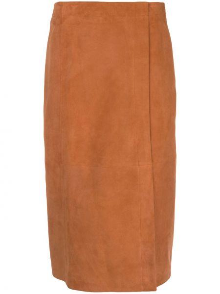 Хлопковая оранжевая с завышенной талией юбка миди с потайной застежкой Jason Wu
