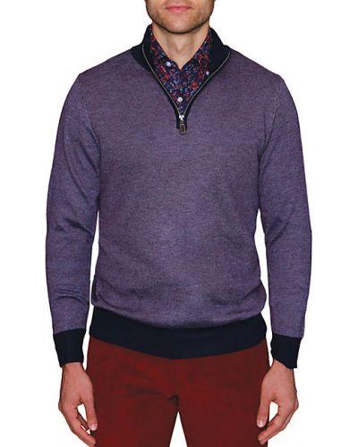 Сиреневый шерстяной длинный свитер с воротником Tailorbyrd