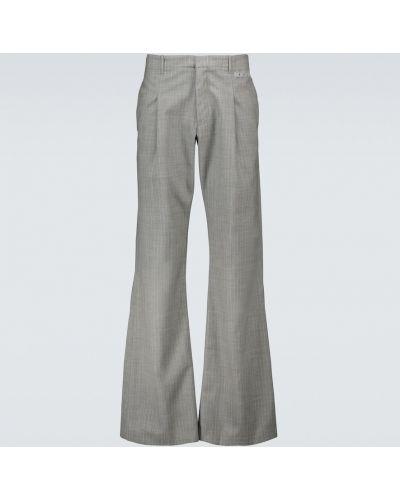 Prosto wełniany spodnie prążkowany Off-white