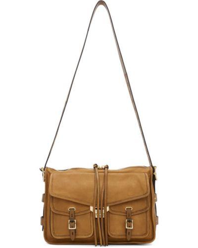 Skórzany brązowy torba kosmetyczna z kieszeniami z łatami Rag & Bone