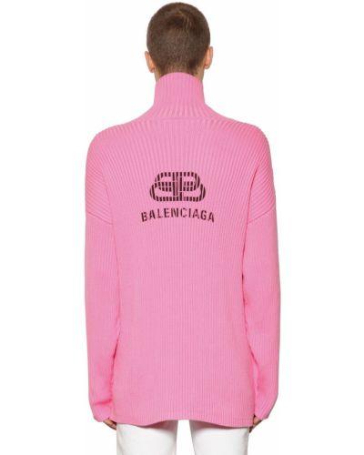 Różowy prążkowany golf bawełniany Balenciaga