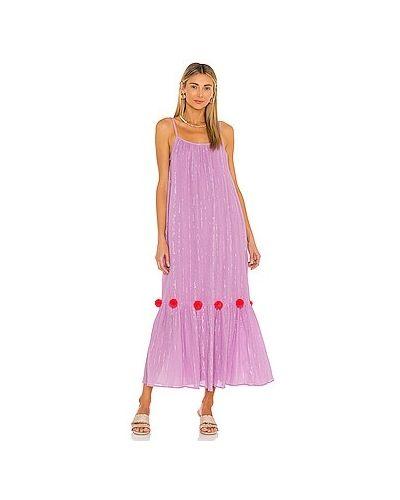 Плиссированное фиолетовое платье макси с люрексом Sundress