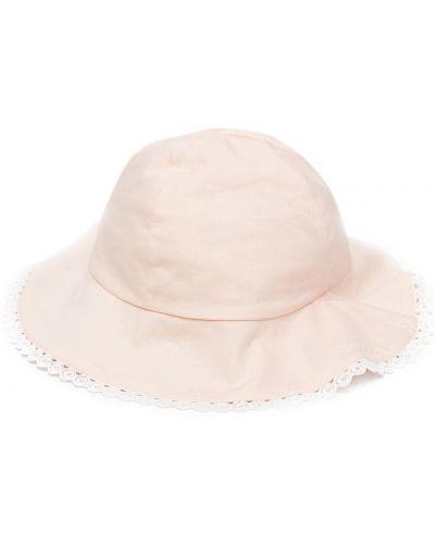 Różowy kapelusz bawełniany z haftem Chloé Kids